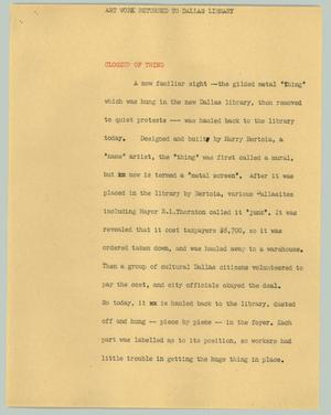 Primary view of [News Script: Art work returned to Dallas library]