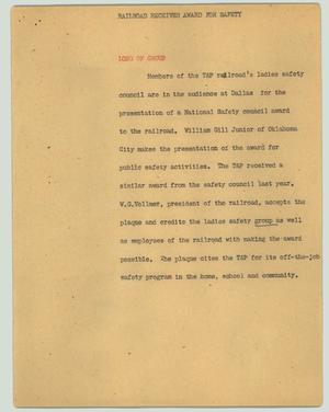 Primary view of object titled '[News Script: Railroad receives award for safety]'.