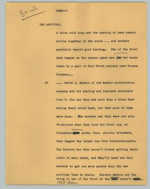 Primary view of object titled '[News Script: Deer]'.