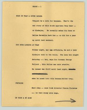 Primary view of object titled '[News Script: Bears]'.
