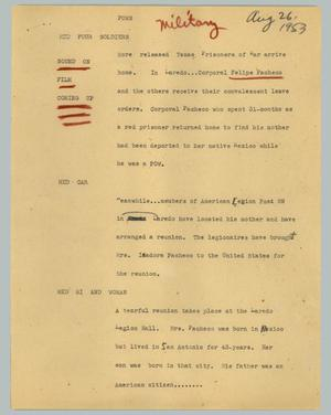 Primary view of object titled '[News Script: POWs]'.