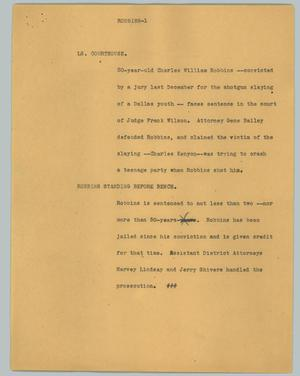 Primary view of object titled '[News Script: Robbins]'.