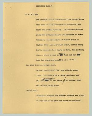 Primary view of object titled '[News Script: Storybook Land]'.