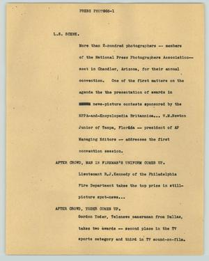 Primary view of object titled '[News Script: Press photogs]'.
