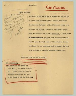Primary view of object titled '[News Script: Adlai]'.