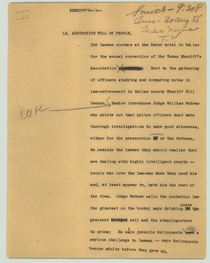 Primary view of object titled '[News Script: Sheriff's]'.