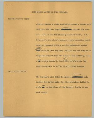 Primary view of object titled '[News Script: Drug store looted by dope burglars]'.