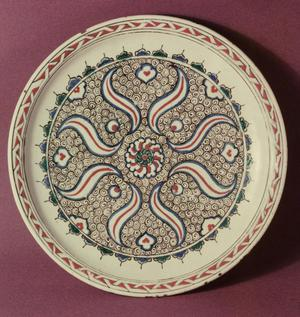 Primary view of object titled 'Plate decorated with a flame pattern'.