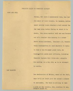 Primary view of object titled '[News Script: Fugitive slain by homicide captain]'.