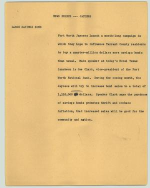 Primary view of object titled '[News Script: Jaycees Launch]'.