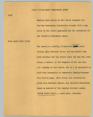 Primary view of object titled '[News Script: Polio victim named homecoming queen]'.