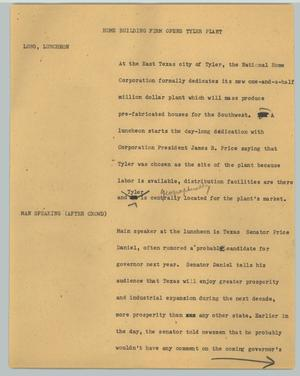 Primary view of object titled '[News Script: Home Building Firm Opens Tyler Plants]'.