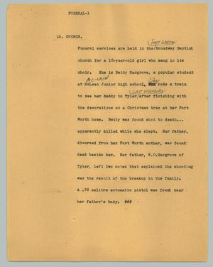 Primary view of object titled '[News Script: Funeral Service Held]'.