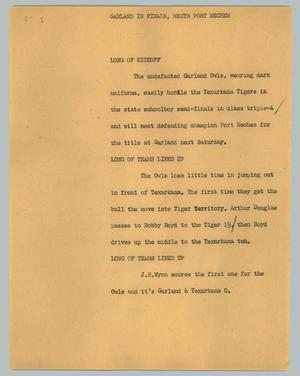 Primary view of object titled '[News Script: Garland in finals, meets Port Neches]'.
