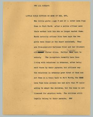 Primary view of object titled '[News Script: Two lil girls]'.