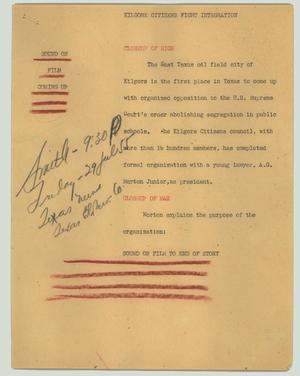 Primary view of object titled '[News Script: Kilgore citizens fight integration]'.
