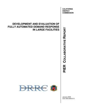 Primary view of object titled 'Development and evaluation of fully automated demand response in large facilities'.