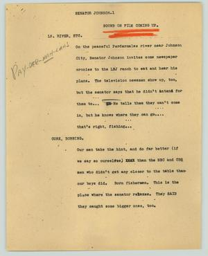 Primary view of object titled '[News Script: Senator Johnson News Conference]'.