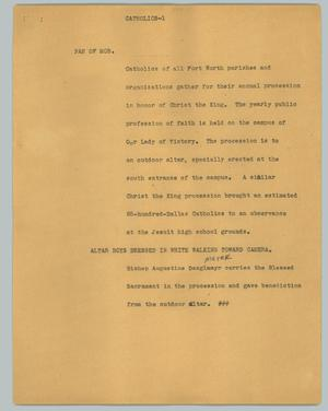 Primary view of object titled '[News Script: Catholics]'.
