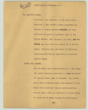 Primary view of object titled '[News Script: Dutch airline president]'.