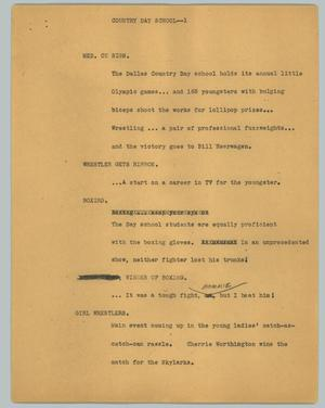 Primary view of object titled '[News Script: Country day school]'.