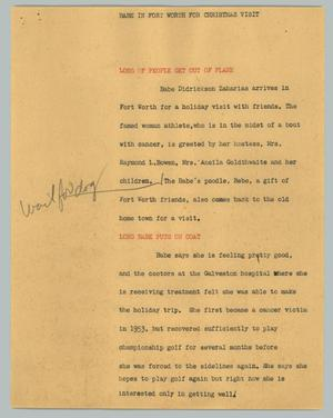 Primary view of object titled '[News Script: Babe in Fort Worth for Christmas visit]'.
