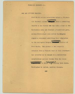 Primary view of object titled '[News Script: Fondling suspect]'.