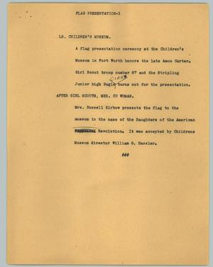 Primary view of object titled '[News Script: Flag presentation]'.