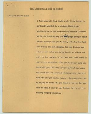Primary view of object titled '[News Script: Girl accidentally shot by brother]'.