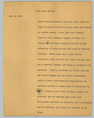 Primary view of object titled '[News Script: Olin Tyler Hearing]'.