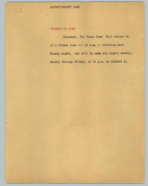 Primary view of object titled '[News Script: News Returning to 10 p.m.]'.