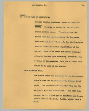 Primary view of object titled '[News Script: Dallas Hosts Airline's Annual Hostess Clinic]'.