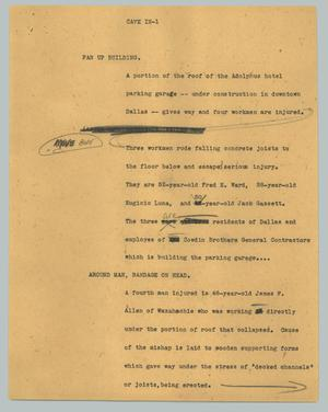 Primary view of object titled '[News Script: Four Injured in Roof Collapsing Accident]'.