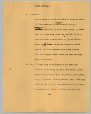 Primary view of object titled '[News Script: Women jurors]'.