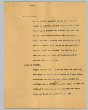 Primary view of object titled '[News Script: Service Station Robbery]'.