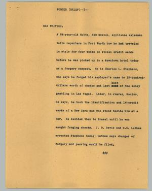 Primary view of object titled '[News Script: Forger (brief)]'.
