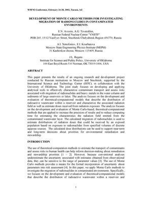 Primary view of object titled 'Development of Monte Carlo Methods for Investigating Migration of Radionuclides in Contaminated Environments'.