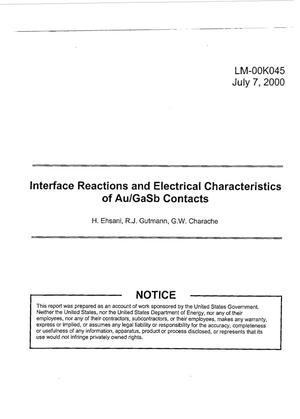Primary view of object titled 'Interface Reactions and Electrical Characteristics of Au/GaSb Contacts'.