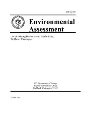 Primary view of object titled 'Environmental Assessment Use of Existing Borrow Areas, Hanford Site, Richland, Washington'.