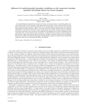 Primary view of object titled 'Influence of conducting plate boundary conditions on the transverse envelope equations describing intense ion beam transport'.