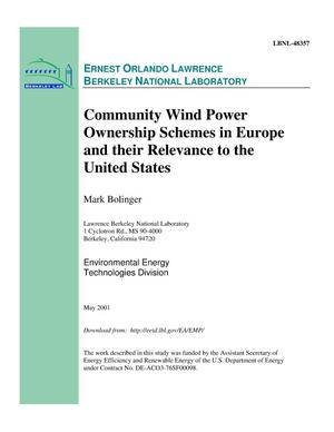 Primary view of object titled 'Community wind power ownership schemes in Europe and their relevance to the United States'.