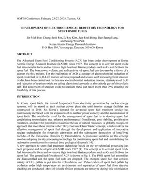 Primary view of object titled 'DEVELOPMENT OF ELECTROCHEMICAL REDUCTION TECHNOLOGY FOR SPENT OXIDE FUELS'.