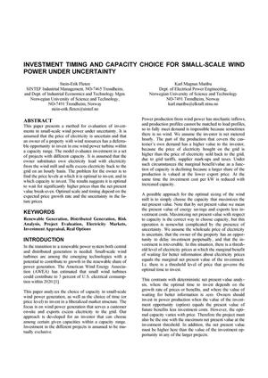 Primary view of object titled 'Investment Timing and Capacity Choice for Small-Scale Wind Power Under Uncertainty'.