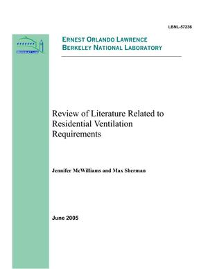 Primary view of object titled 'Review of Literature Related to Residential VentilationRequirements'.