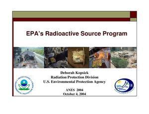 Primary view of object titled 'EPA's Radioactive Source Program'.