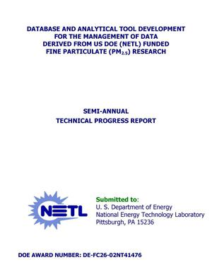 Primary view of object titled 'DATABASE AND ANALYTICAL TOOL DEVELOPMENT FOR THE MANAGEMENT OF DATA DERIVED FROM US DOE (NETL) FUNDED FINE PARTICULATE (PM2.5) RESEARCH'.
