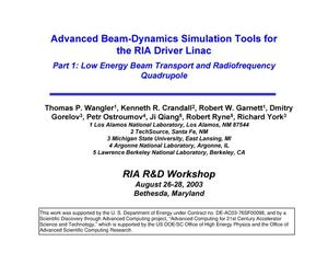 Primary view of object titled 'Advanced beam-dynamics simulation tools for the RIA driver linac,Part I: Low energy beam transport and radiofrequency quadrupole'.