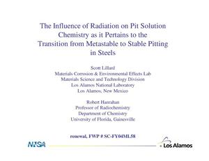 Primary view of object titled 'The Influence of Radiation on Pit Solution Chemistry as it Pertains to the Transition from Metastable to Stable Pitting in Steels'.
