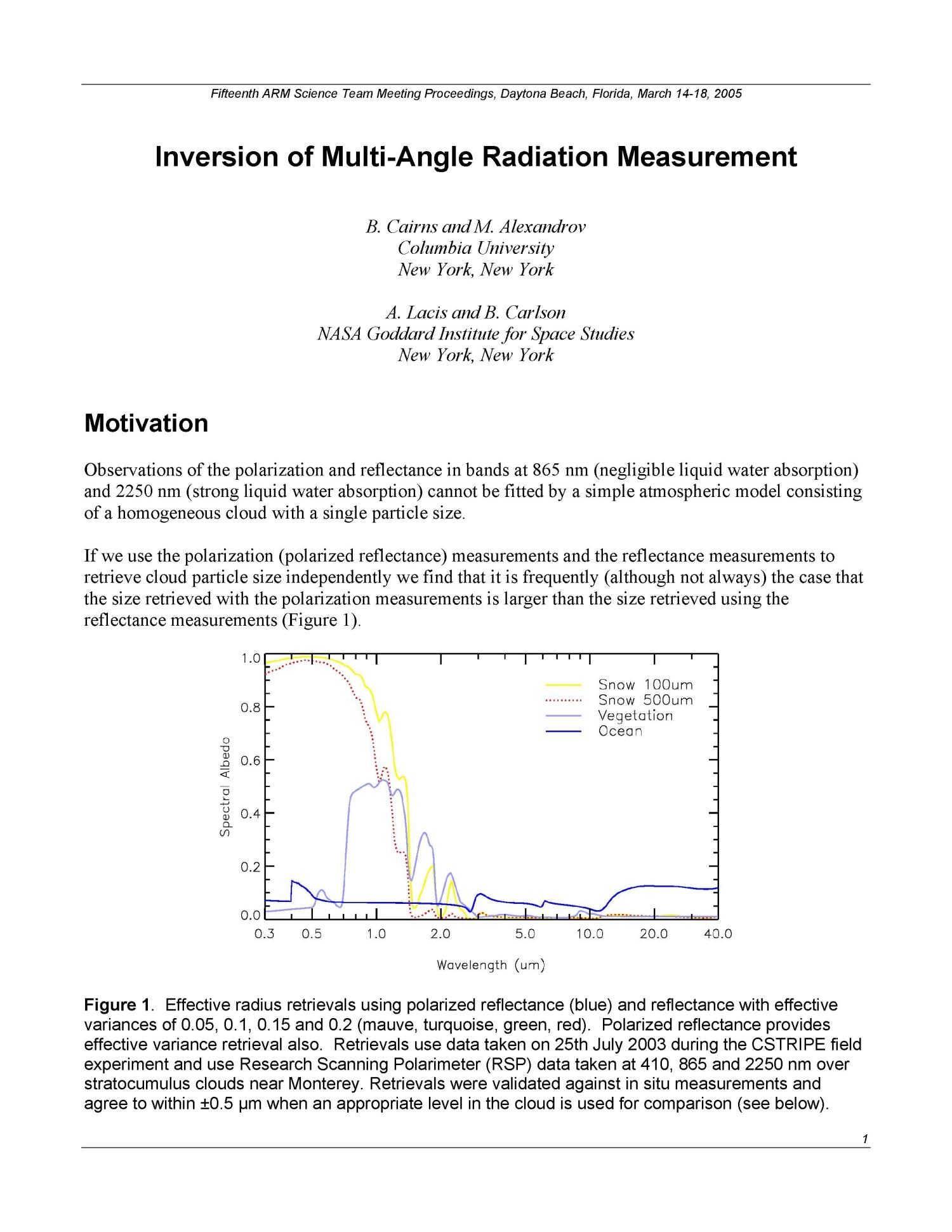 Inversion of Multi-Angle Radiation Measurement                                                                                                      [Sequence #]: 1 of 8