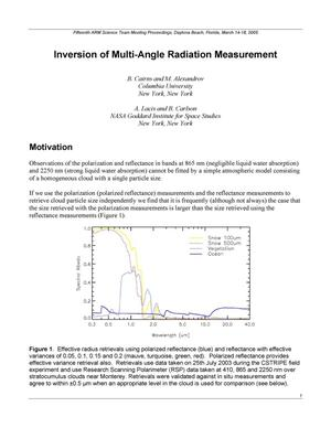 Primary view of object titled 'Inversion of Multi-Angle Radiation Measurement'.